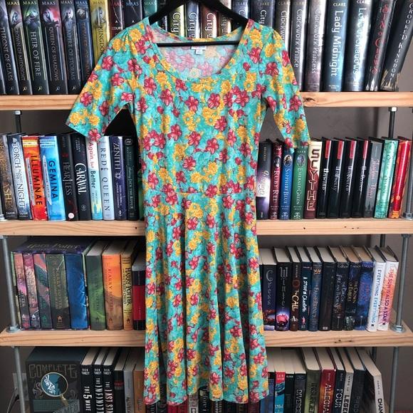 LuLaRoe Dresses & Skirts - LuLaRoe Floral Print Fit & Flare Nicole Dress S